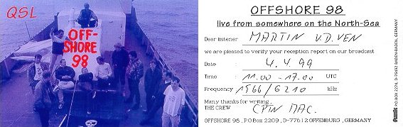 OFFSHORE 98 QSL-card